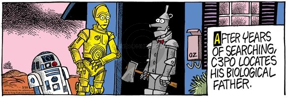 After years of searching, C3PO locates his biological father.
